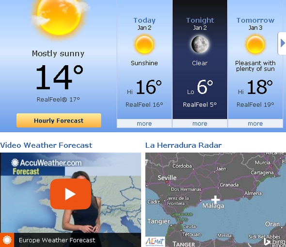 Weather Forecast for the La Herradura region in southern Spain from AccuWeather. (Link)
